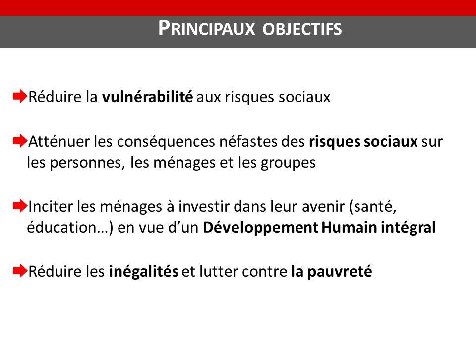 P RINCIPAUX OBJECTIFS ➨ Réduire la vulnérabilité aux risques sociaux ➨ Atténuer les conséquences néfastes des risques sociaux sur les personnes, les m