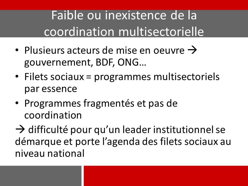 Faible ou inexistence de la coordination multisectorielle Plusieurs acteurs de mise en oeuvre  gouvernement, BDF, ONG… Filets sociaux = programmes mu
