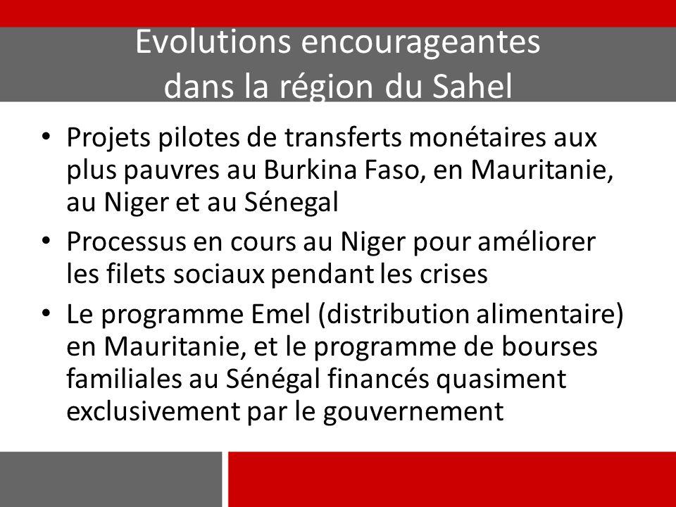 Evolutions encourageantes dans la région du Sahel Projets pilotes de transferts monétaires aux plus pauvres au Burkina Faso, en Mauritanie, au Niger e