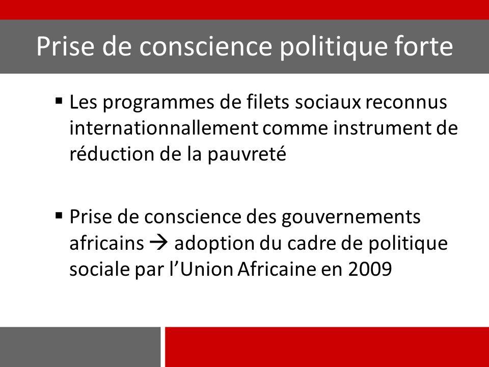 Développement des stratégies nationales La protection sociale ou les filets sociaux sont pris en compte dans la stratégie de développement de 77% des 22 pays  Apparition récente pour le Mali et le Burkina Faso Encore peu de pays avec une stratégie de protection sociale opérationnelle (32%)