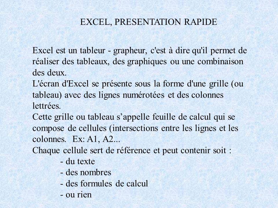 PAGE D'ACCUEIL D'EXCEL ZONE DE TRAVAL