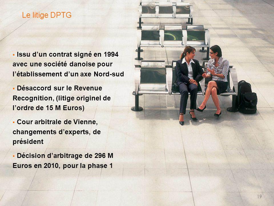  Issu d'un contrat signé en 1994 avec une société danoise pour l'établissement d'un axe Nord-sud  Désaccord sur le Revenue Recognition, (litige originel de l'ordre de 15 M Euros)  Cour arbitrale de Vienne, changements d'experts, de président  Décision d'arbitrage de 296 M Euros en 2010, pour la phase 1 19 Le litige DPTG