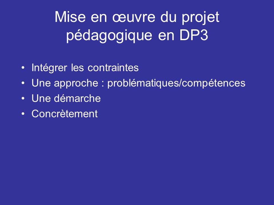 Mise en œuvre du projet pédagogique en DP3 Intégrer les contraintes Une approche : problématiques/compétences Une démarche Concrètement