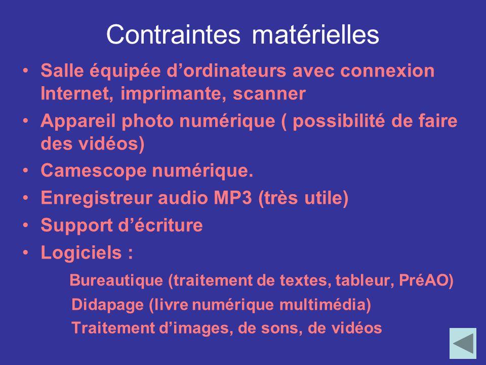 Contraintes matérielles Salle équipée d'ordinateurs avec connexion Internet, imprimante, scanner Appareil photo numérique ( possibilité de faire des vidéos) Camescope numérique.