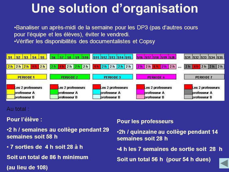 Une solution d'organisation Au total : Pour l'élève : 2 h / semaines au collège pendant 29 semaines soit 58 h 7 sorties de 4 h soit 28 à h Soit un tot
