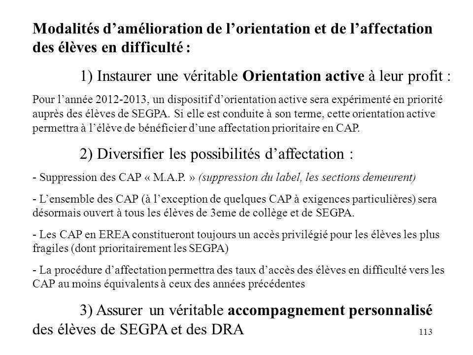113 Modalités d'amélioration de l'orientation et de l'affectation des élèves en difficulté : 1) Instaurer une véritable Orientation active à leur profit : Pour l'année 2012-2013, un dispositif d'orientation active sera expérimenté en priorité auprès des élèves de SEGPA.