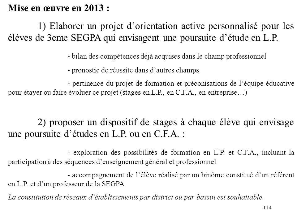 114 Mise en œuvre en 2013 : 1) Elaborer un projet d'orientation active personnalisé pour les élèves de 3eme SEGPA qui envisagent une poursuite d'étude en L.P.
