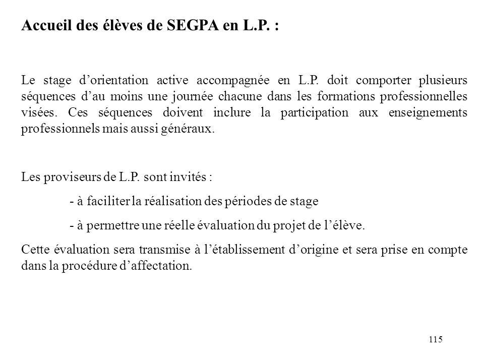 115 Accueil des élèves de SEGPA en L.P.: Le stage d'orientation active accompagnée en L.P.
