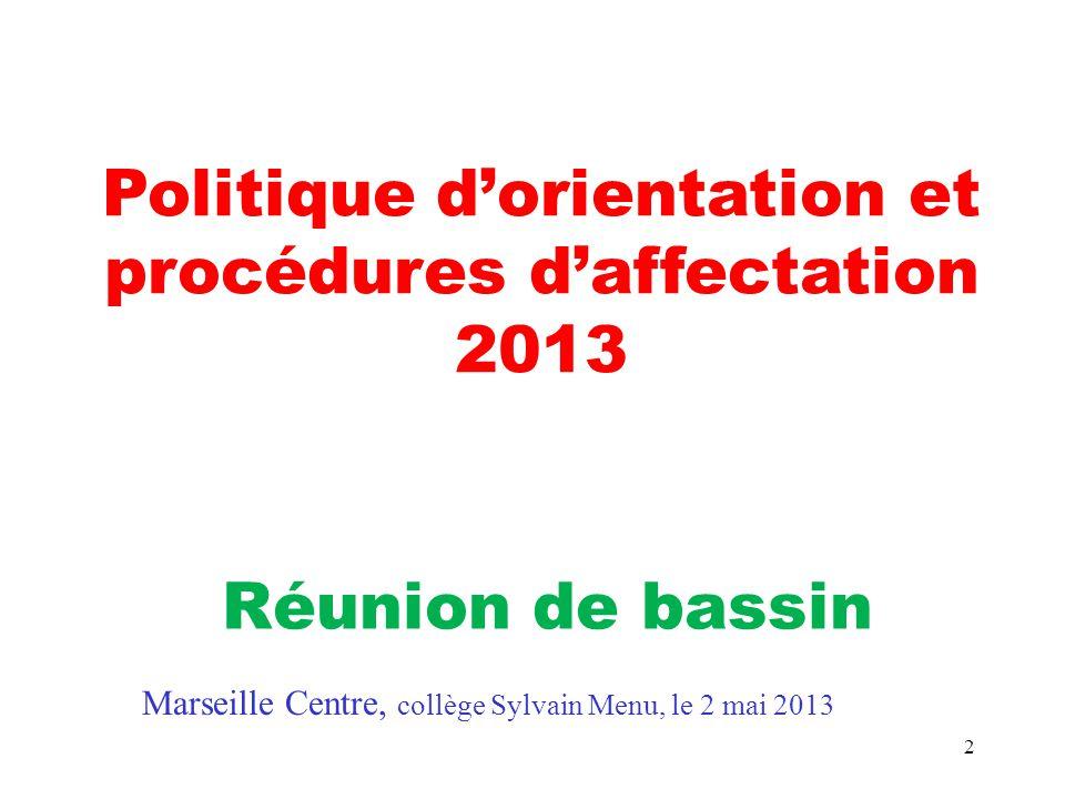 2 Politique d'orientation et procédures d'affectation 2013 Réunion de bassin Marseille Centre, collège Sylvain Menu, le 2 mai 2013