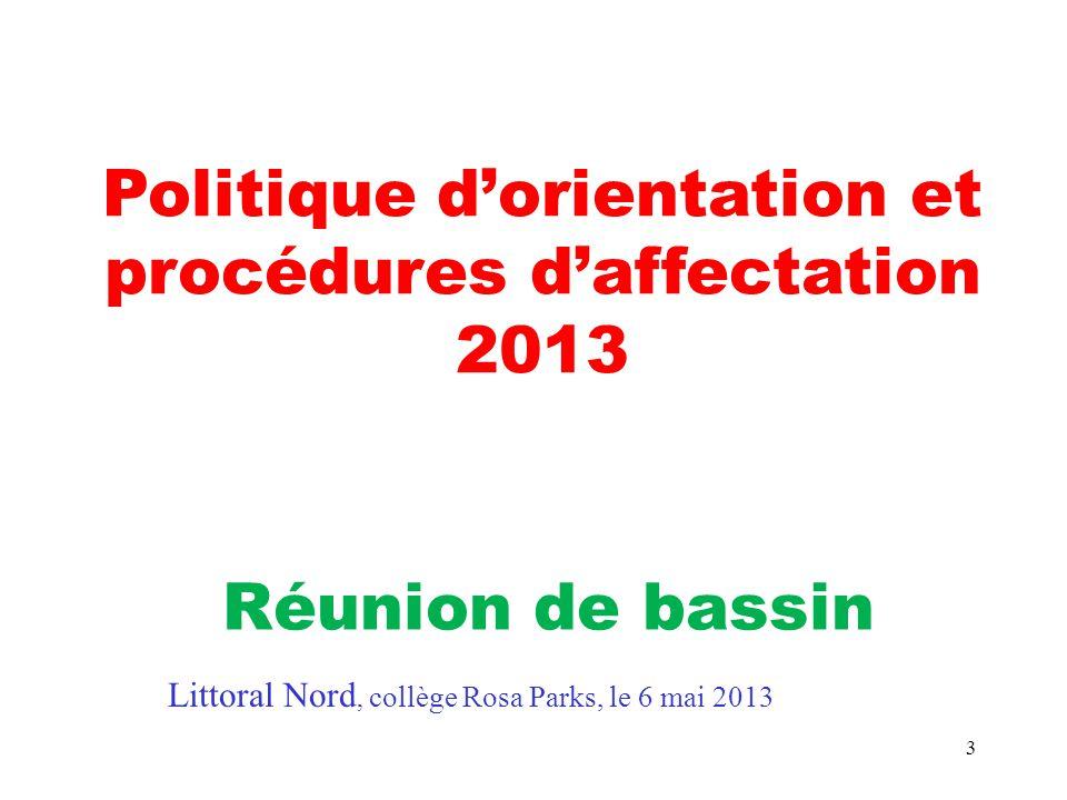 3 Politique d'orientation et procédures d'affectation 2013 Réunion de bassin Littoral Nord, collège Rosa Parks, le 6 mai 2013