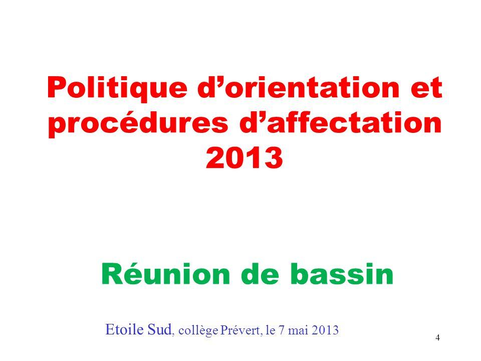 4 Politique d'orientation et procédures d'affectation 2013 Réunion de bassin Etoile Sud, collège Prévert, le 7 mai 2013
