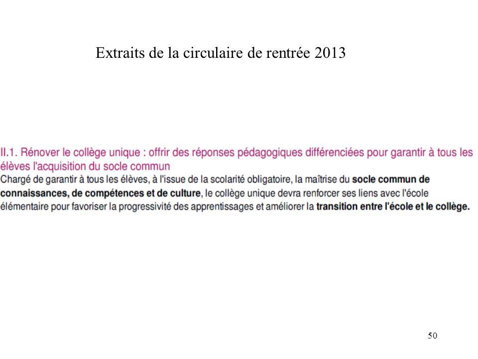 50 Extraits de la circulaire de rentrée 2013