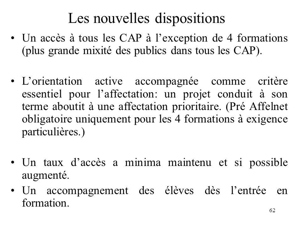 62 Les nouvelles dispositions Un accès à tous les CAP à l'exception de 4 formations (plus grande mixité des publics dans tous les CAP).