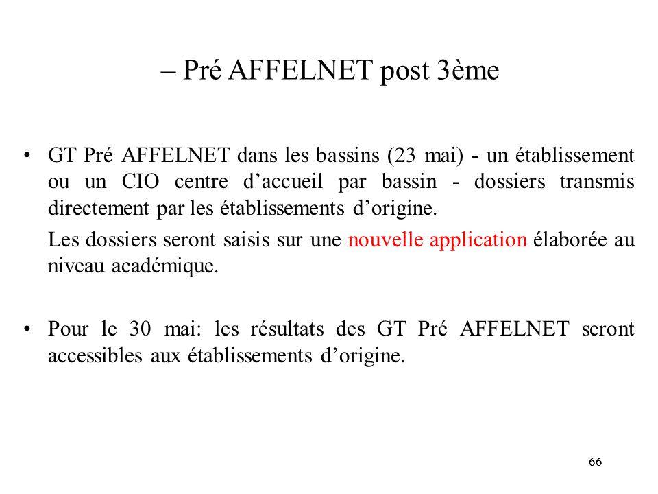 66 – Pré AFFELNET post 3ème GT Pré AFFELNET dans les bassins (23 mai) - un établissement ou un CIO centre d'accueil par bassin - dossiers transmis directement par les établissements d'origine.