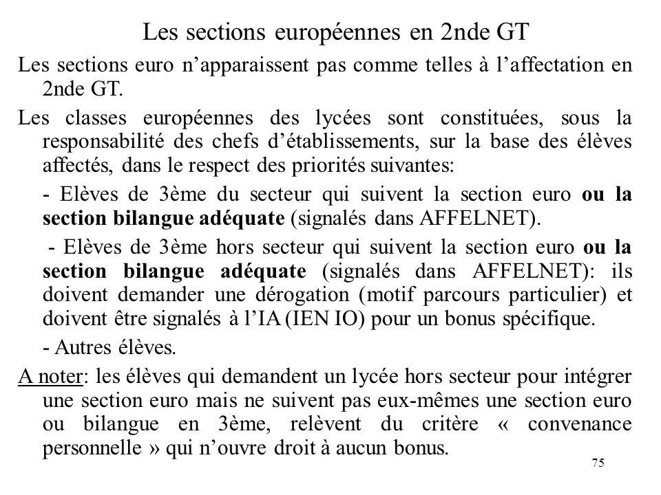 75 Les sections européennes en 2nde GT Les sections euro n'apparaissent pas comme telles à l'affectation en 2nde GT.