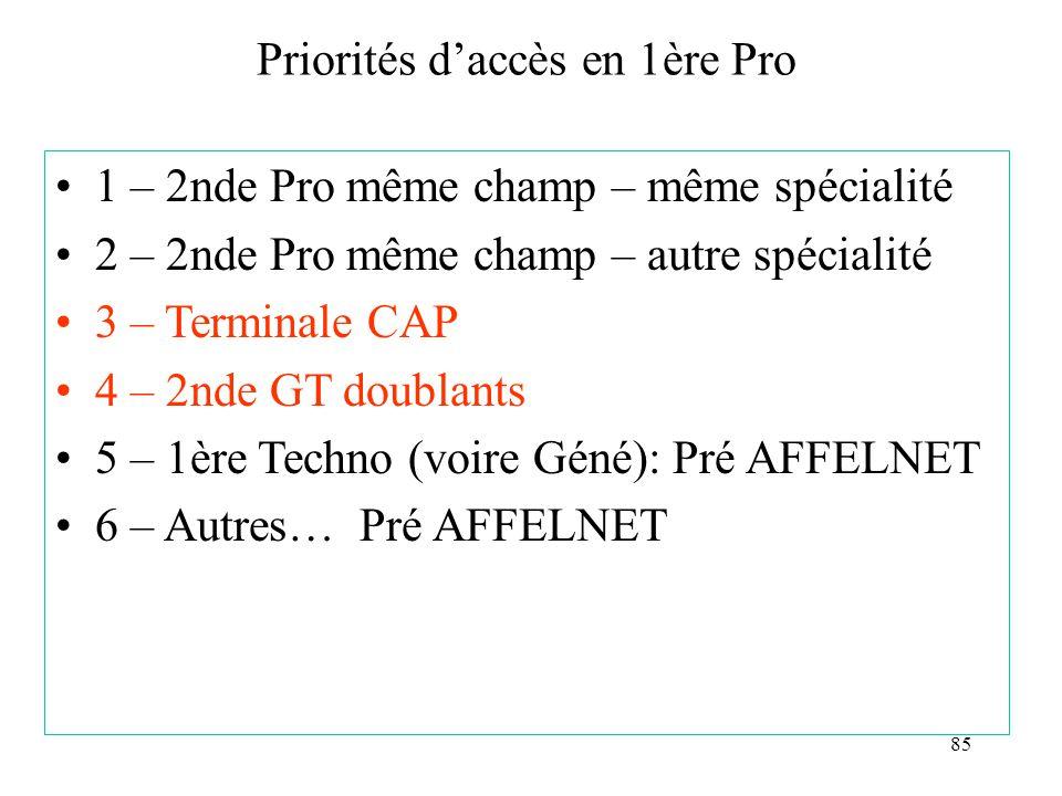 85 Priorités d'accès en 1ère Pro 1 – 2nde Pro même champ – même spécialité 2 – 2nde Pro même champ – autre spécialité 3 – Terminale CAP 4 – 2nde GT doublants 5 – 1ère Techno (voire Géné): Pré AFFELNET 6 – Autres… Pré AFFELNET