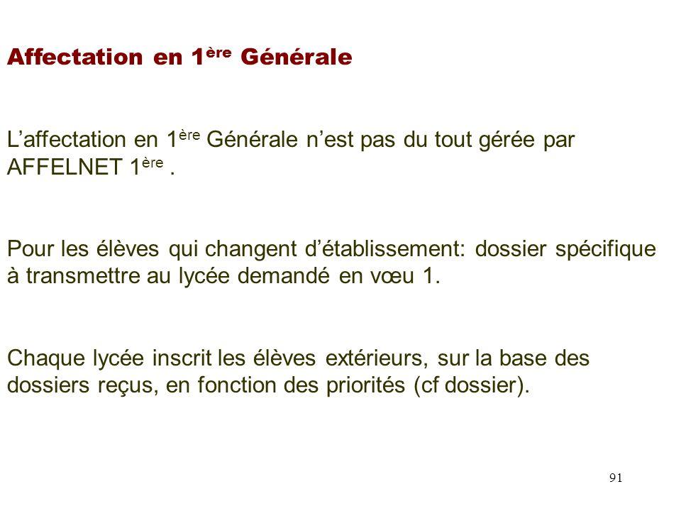 91 Affectation en 1 ère Générale L'affectation en 1 ère Générale n'est pas du tout gérée par AFFELNET 1 ère.