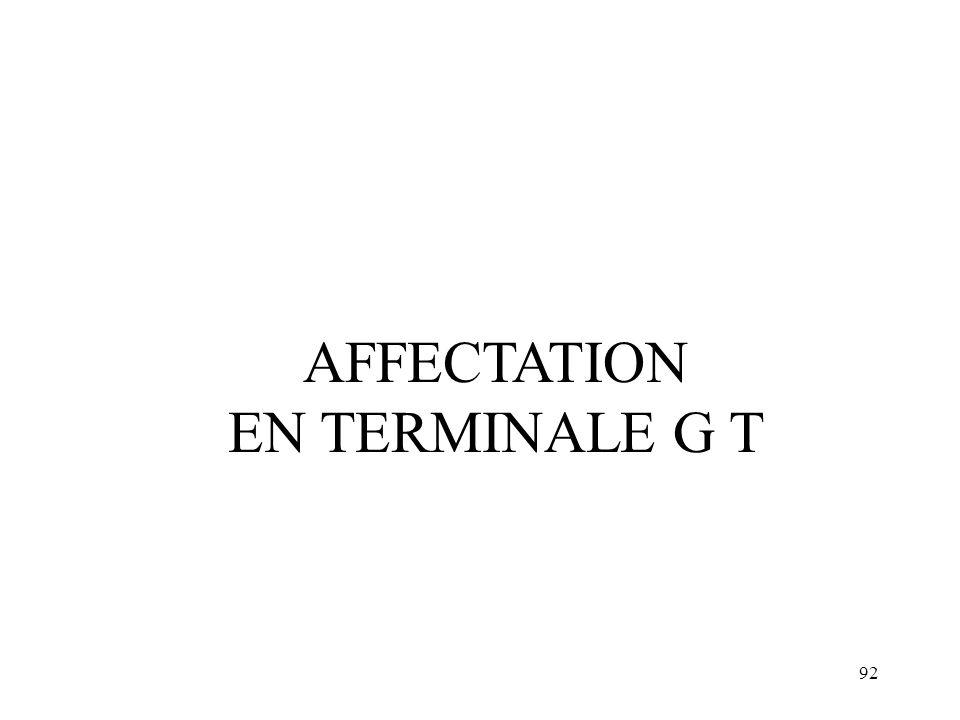 92 AFFECTATION EN TERMINALE G T