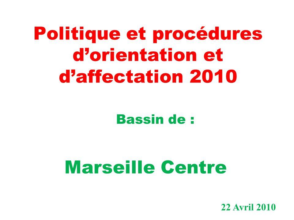 1) Orientation et affectation en fin de 3 ème 2) Dans le bassin de Marseille Centre 3) Politique et procédures d'orientation et d'affectation 2010 dans le contexte de la réforme des lycées