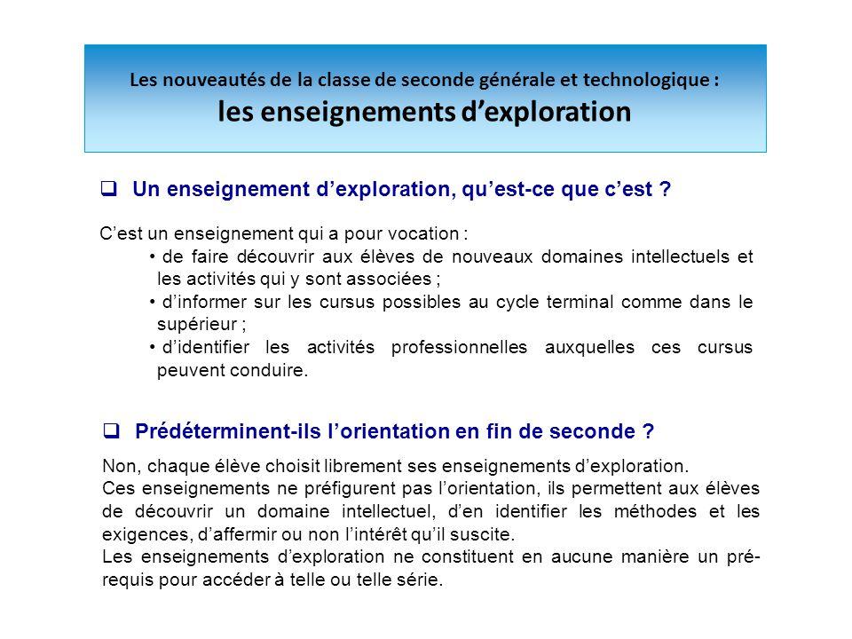Les nouveautés de la classe de seconde générale et technologique : les enseignements d'exploration  Un enseignement d'exploration, qu'est-ce que c'es