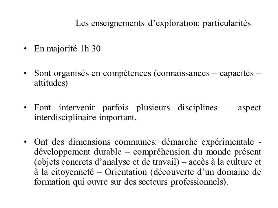 Les enseignements d'exploration: particularités En majorité 1h 30 Sont organisés en compétences (connaissances – capacités – attitudes) Font interveni