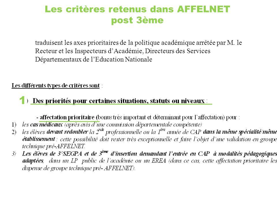 Les critères retenus dans AFFELNET post 3ème 1 traduisent les axes prioritaires de la politique académique arrêtée par M. le Recteur et les Inspecteur