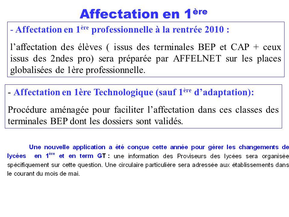 - Affectation en 1 ère professionnelle à la rentrée 2010 : l'affectation des élèves ( issus des terminales BEP et CAP + ceux issus des 2ndes pro) sera