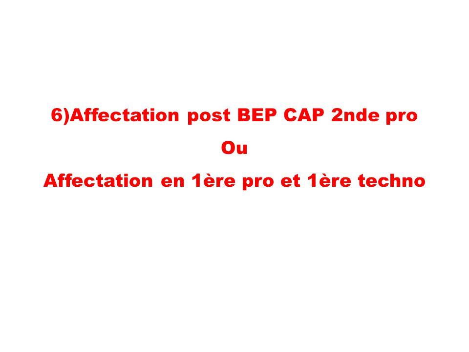 6)Affectation post BEP CAP 2nde pro Ou Affectation en 1ère pro et 1ère techno