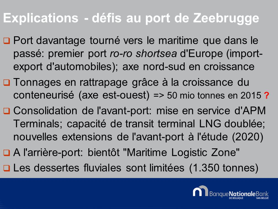 © National Bank of Belgium  Port davantage tourné vers le maritime que dans le passé: premier port ro-ro shortsea d Europe (import- export d automobiles); axe nord-sud en croissance  Tonnages en rattrapage grâce à la croissance du conteneurisé (axe est-ouest) => 50 mio tonnes en 2015 .