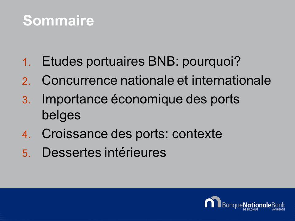 © National Bank of Belgium Sommaire 1. Etudes portuaires BNB: pourquoi.