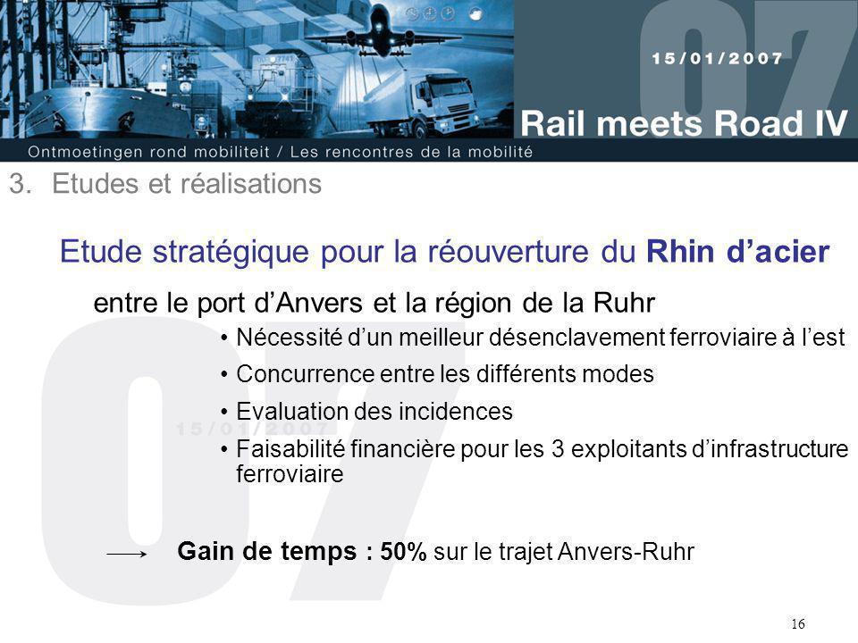 16 Etude stratégique pour la réouverture du Rhin d'acier entre le port d'Anvers et la région de la Ruhr Nécessité d'un meilleur désenclavement ferrovi