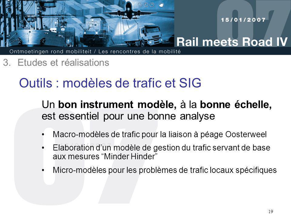 19 Outils : modèles de trafic et SIG Un bon instrument modèle, à la bonne échelle, est essentiel pour une bonne analyse Macro-modèles de trafic pour l
