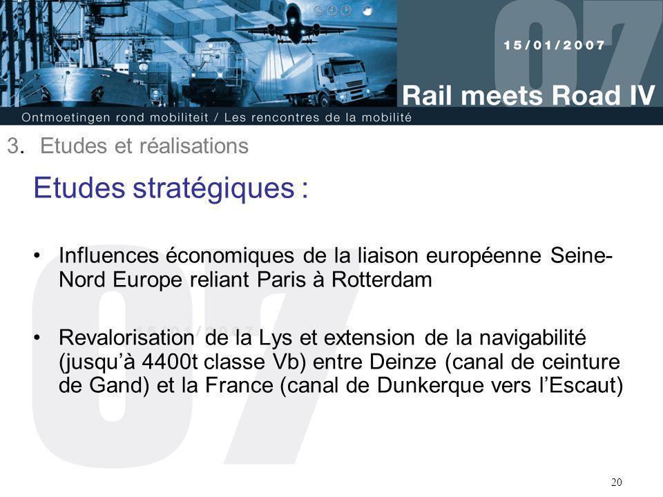 20 Etudes stratégiques : Influences économiques de la liaison européenne Seine- Nord Europe reliant Paris à Rotterdam Revalorisation de la Lys et exte