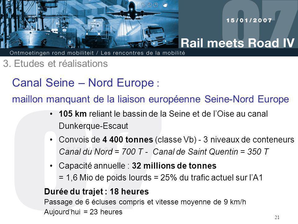 21 Canal Seine – Nord Europe : maillon manquant de la liaison européenne Seine-Nord Europe 105 km reliant le bassin de la Seine et de l'Oise au canal