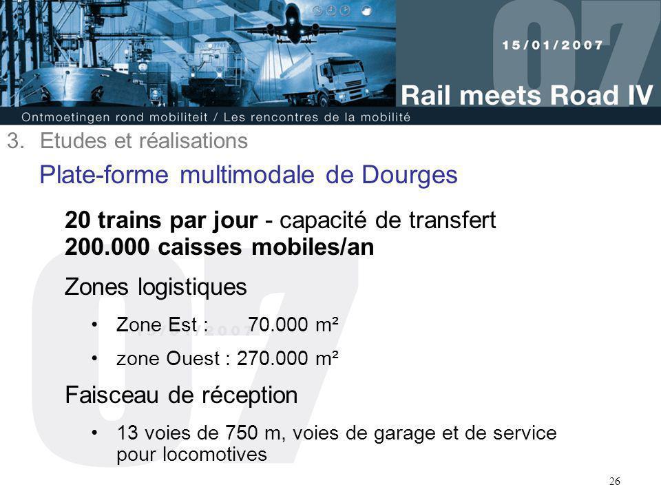 26 Plate-forme multimodale de Dourges 20 trains par jour - capacité de transfert 200.000 caisses mobiles/an Zones logistiques Zone Est : 70.000 m² zon