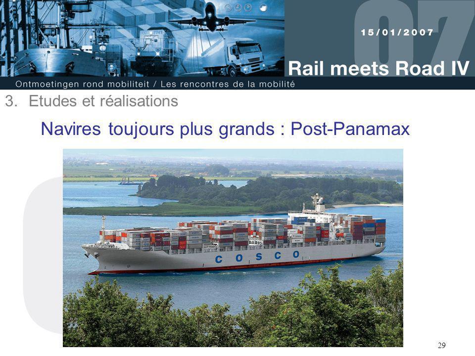 29 Navires toujours plus grands : Post-Panamax 3.Etudes et réalisations