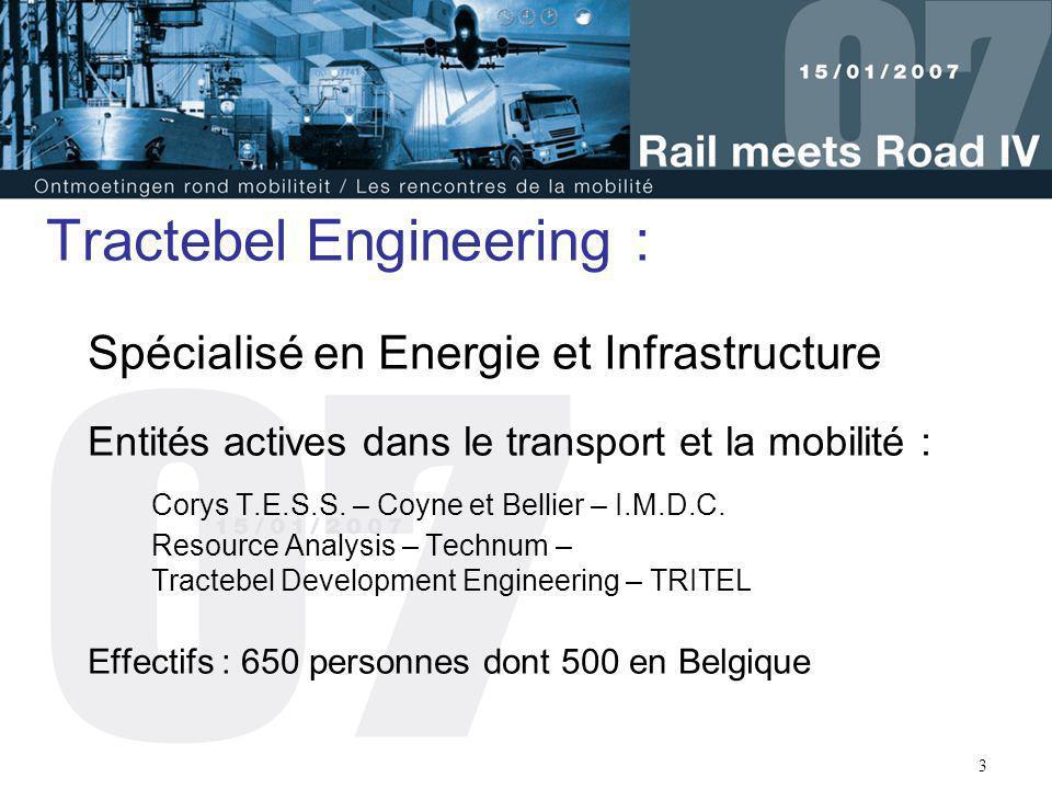 3 Tractebel Engineering : Spécialisé en Energie et Infrastructure Entités actives dans le transport et la mobilité : Corys T.E.S.S. – Coyne et Bellier