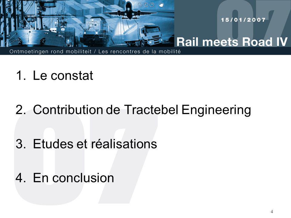 4 1.Le constat 2.Contribution de Tractebel Engineering 3.Etudes et réalisations 4.En conclusion