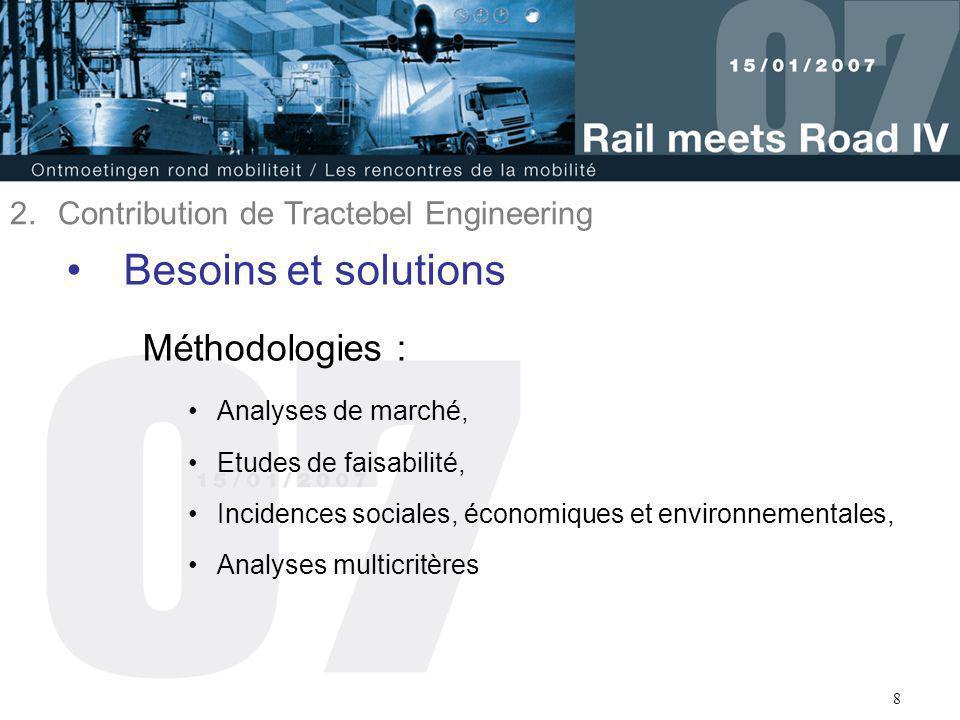 8 Besoins et solutions Méthodologies : Analyses de marché, Etudes de faisabilité, Incidences sociales, économiques et environnementales, Analyses mult