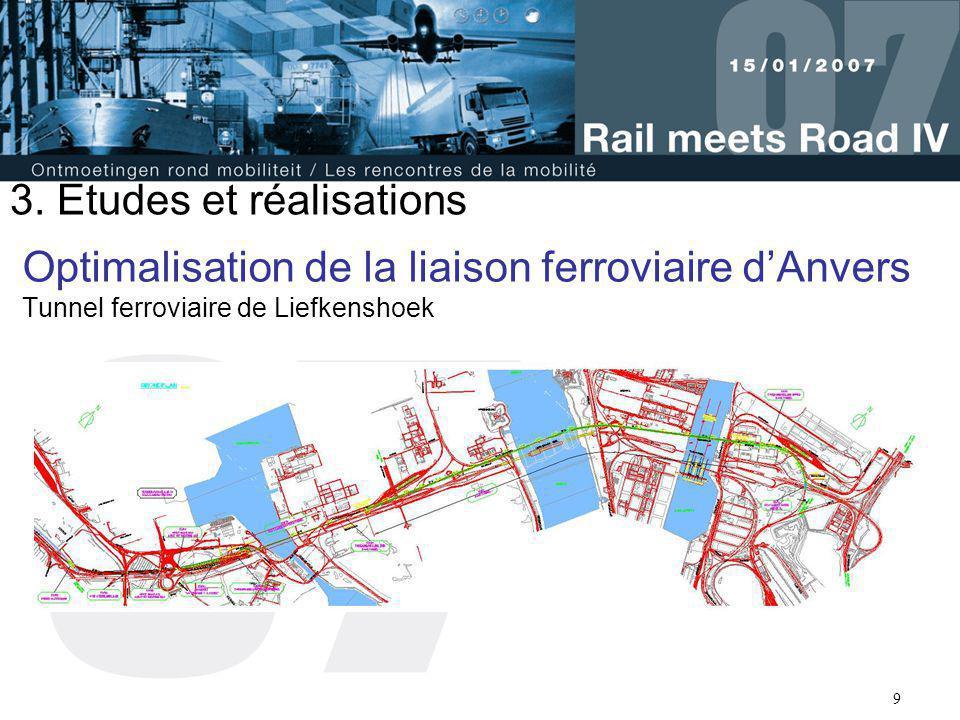 9 Optimalisation de la liaison ferroviaire d'Anvers Tunnel ferroviaire de Liefkenshoek 3. Etudes et réalisations