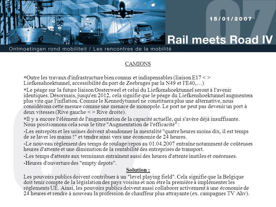 CAMIONS  Outre les travaux d'infrastructure bien connus et indispensables (liaison E17 Liefkenshoektunnel, accessibilité du port de Zeebruges par la