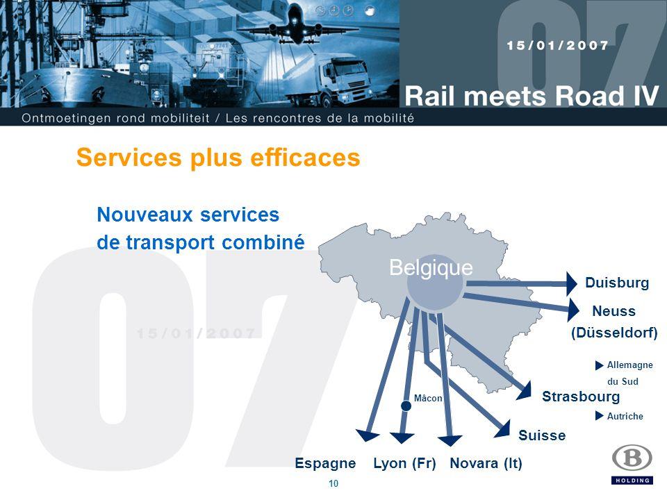 10 Services plus efficaces Nouveaux services de transport combiné Espagne Belgique Lyon (Fr) Novara (It) Mâcon Suisse Strasbourg Allemagne du Sud Autriche Neuss (Düsseldorf) Duisburg