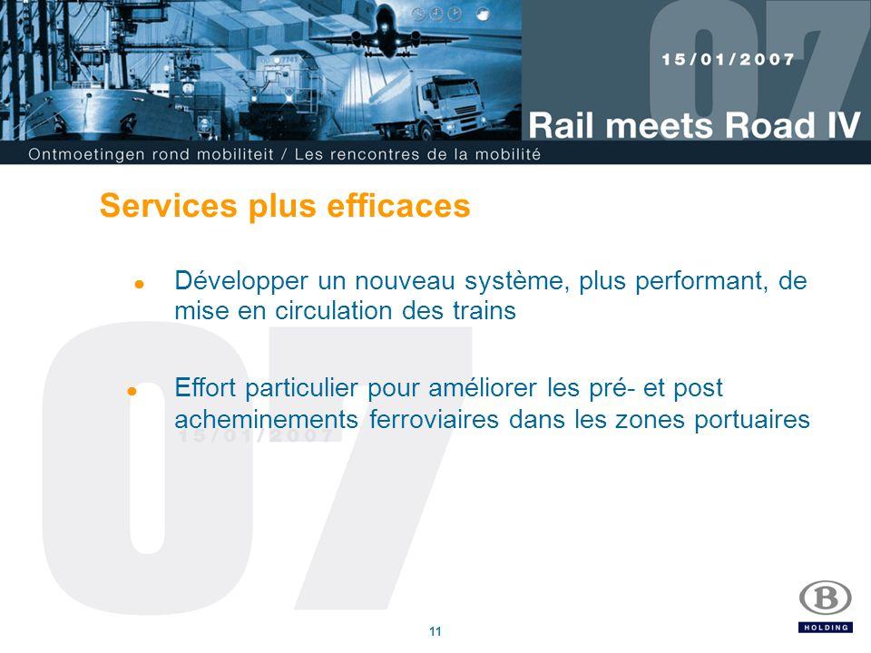 11 Services plus efficaces Développer un nouveau système, plus performant, de mise en circulation des trains Effort particulier pour améliorer les pré- et post acheminements ferroviaires dans les zones portuaires
