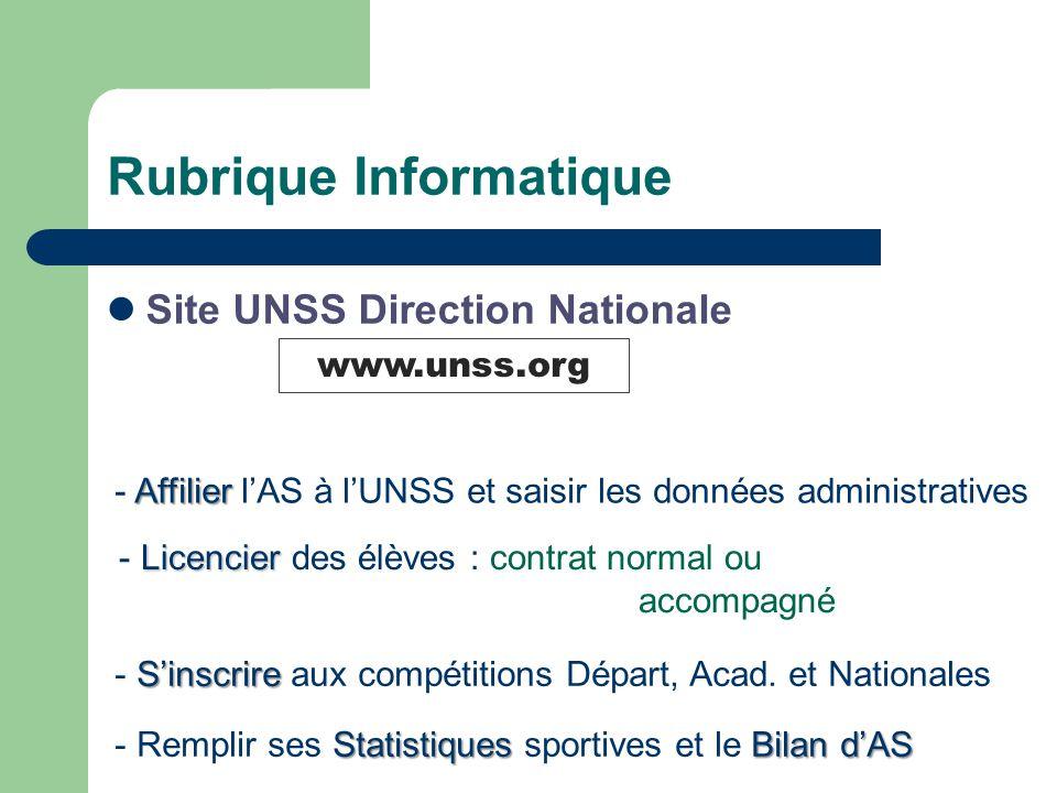 Rubrique Informatique Site UNSS Direction Nationale Affilier - Affilier l'AS à l'UNSS et saisir les données administratives Licencier - Licencier des