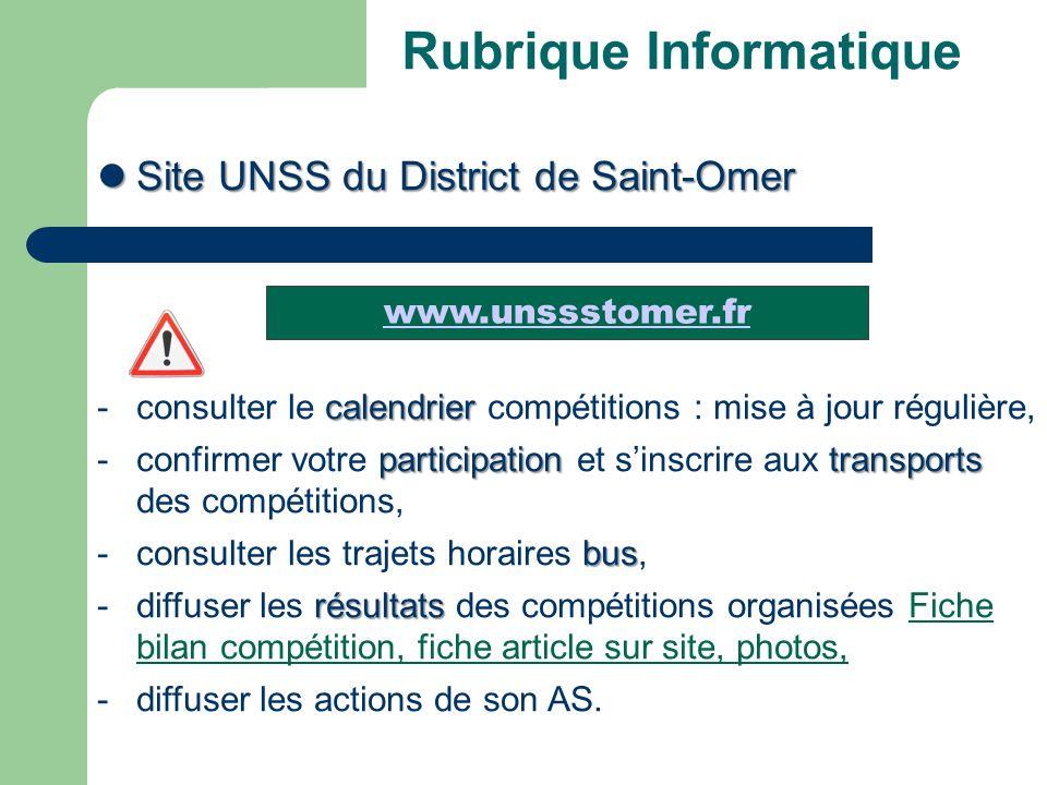 Rubrique Informatique Site UNSS du District de Saint-Omer Site UNSS du District de Saint-Omer calendrier - consulter le calendrier compétitions : mise