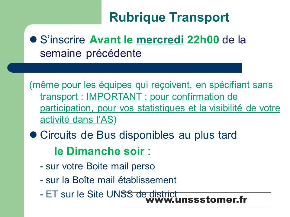 Rubrique Transport S'inscrire Avant le mercredi 22h00 de la semaine précédente (même pour les équipes qui reçoivent, en spécifiant sans transport : IM