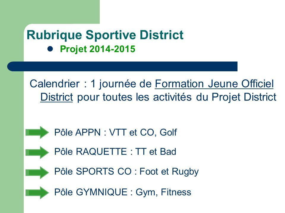 Calendrier : 1 journée de Formation Jeune Officiel District pour toutes les activités du Projet District Pôle APPN : VTT et CO, Golf Pôle RAQUETTE : T