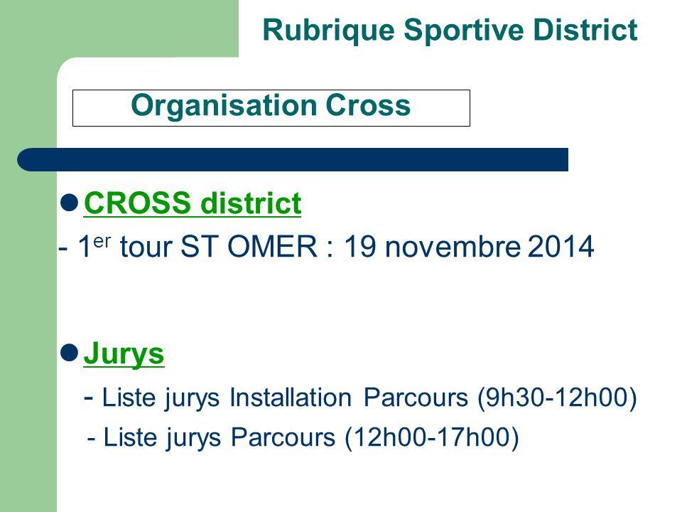 Rubrique Sportive District CROSS district - 1 er tour ST OMER : 19 novembre 2014 Jurys - Liste jurys Installation Parcours (9h30-12h00) - Liste jurys