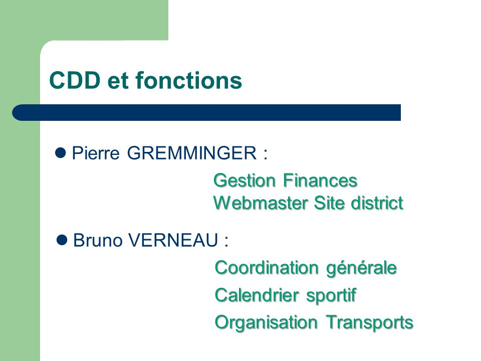 CDD et fonctions Pierre GREMMINGER : Gestion Finances Webmaster Site district Gestion Finances Webmaster Site district Bruno VERNEAU : Coordination générale Calendrier sportif Organisation Transports