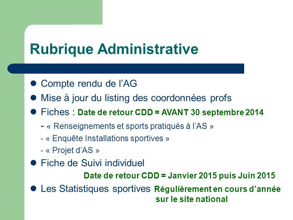 Rubrique Administrative Compte rendu de l'AG Mise à jour du listing des coordonnées profs Fiches : Date de retour CDD = AVANT 30 septembre 2014 - « Re